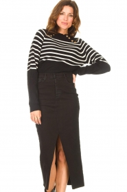 Kocca |  Knitted sweater with striped Silvana | black  | Picture 4