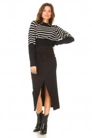 Kocca |  Knitted sweater with striped Silvana | black  | Picture 3