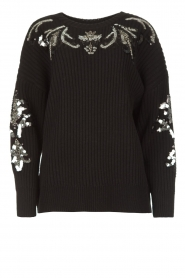 Kocca |  Knitted sweater with sequins Savita | black  | Picture 1
