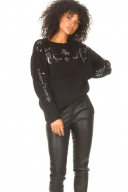 Kocca |  Knitted sweater with sequins Savita | black  | Picture 2