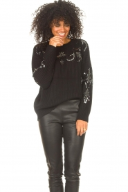 Kocca |  Knitted sweater with sequins Savita | black  | Picture 4