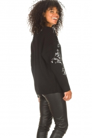 Kocca |  Knitted sweater with sequins Savita | black  | Picture 5