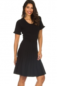 Silvian Heach |  Dress with pleated skirt Batabano | black  | Picture 4