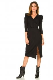 Set |  Midi dress with puf sleeves | black  | Picture 3