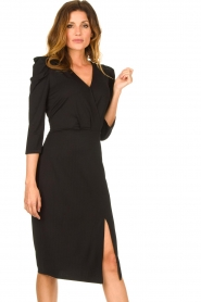 Set |  Midi dress with puf sleeves | black  | Picture 4