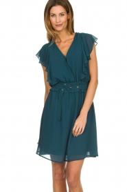 Silvian Heach |  Dress with ruffles Handan | blue  | Picture 2