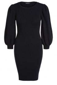 Set |  Merino woolen dress with balloon sleeves Trace | black  | Picture 1