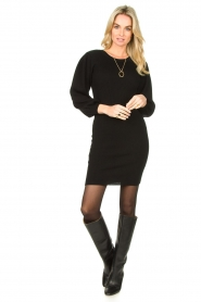Set |  Merino woolen dress with balloon sleeves Trace | black  | Picture 3