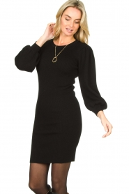 Set |  Merino woolen dress with balloon sleeves Trace | black  | Picture 2