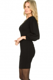 Set |  Merino woolen dress with balloon sleeves Trace | black  | Picture 4
