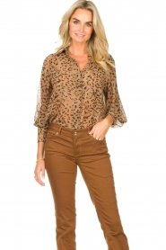 Kocca    Blouse with panther print Vinca   brown    Picture 5