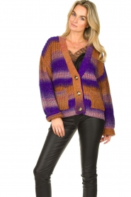 Set |  Chunky knit cardigan Lucy | purple  | Picture 5