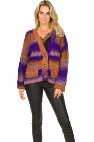 Set |  Chunky knit cardigan Lucy | purple  | Picture 4