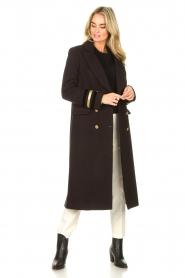 Kocca |  Cloak coat with striped details Obioma | black  | Picture 3