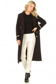 Kocca |  Cloak coat with striped details Obioma | black  | Picture 4