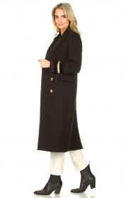 Kocca |  Cloak coat with striped details Obioma | black  | Picture 5