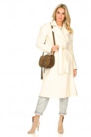 Kocca |  Cloak coat with tie belt Azekel | natural   | Picture 3