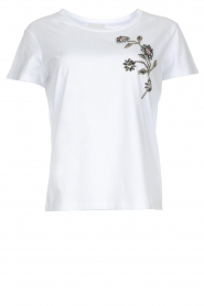 Silvian Heach |  T-shirt with floral application Marrakech | white   | Picture 1