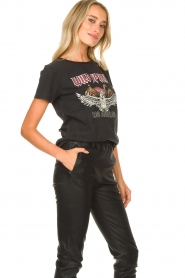 Sofie Schnoor |  T-shirt with print Nikoliene | black  | Picture 4