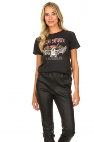 Sofie Schnoor |  T-shirt with print Nikoliene | black  | Picture 3
