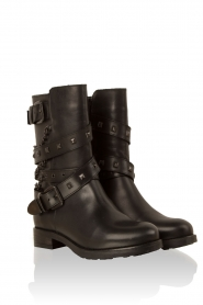 Leather biker boots Studs | black