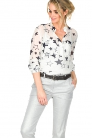 Atos Lombardini |  Top with star print Stelle | White  | Picture 4