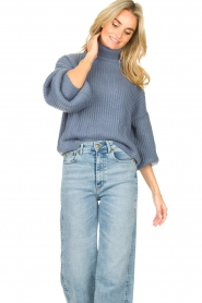 Kocca |  Knitted sweater with lowered sleeves Ulisse | blue  | Picture 2