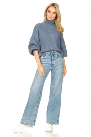Kocca |  Knitted sweater with lowered sleeves Ulisse | blue  | Picture 3