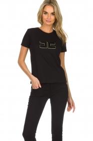 ELISABETTA FRANCHI |  T-shirt with logo application Arielle | black  | Picture 2
