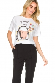 ELISABETTA FRANCHI |  T-shirt with print Guesse | white  | Picture 4