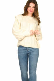 Sofie Schnoor |  Soft sweater with shoulder details Tereza | natural  | Picture 4