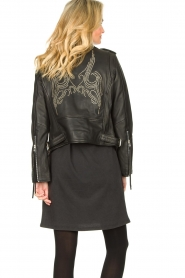 Sofie Schnoor |  Studded leather biker jacket Emili | black  | Picture 6