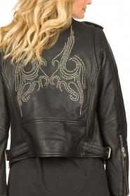 Sofie Schnoor |  Studded leather biker jacket Emili | black  | Picture 7