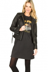 Sofie Schnoor |  Studded leather biker jacket Emili | black  | Picture 2