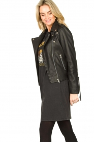 Sofie Schnoor |  Studded leather biker jacket Emili | black  | Picture 5