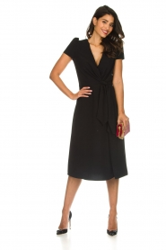ELISABETTA FRANCHI |  Midi dress with dainty draping Lize | black  | Picture 3