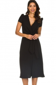 ELISABETTA FRANCHI |  Midi dress with dainty draping Lize | black  | Picture 2