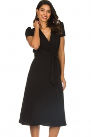 ELISABETTA FRANCHI |  Midi dress with dainty draping Lize | black  | Picture 4