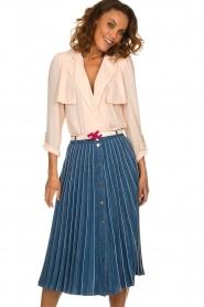 ELISABETTA FRANCHI | Plissé spijkerrok Franca | blauw  | Afbeelding 2
