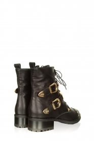 Sofie Schnoor :  Leather boots with gold coloured buckles Kate | black - img4