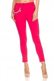 ELISABETTA FRANCHI | Skinny jeans met ketting Loveo | roze  | Afbeelding 3