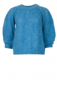 Be Pure |  Alpaca sweater with puff sleeves Lucie | blue  | Picture 1