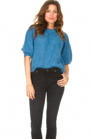 Be Pure |  Alpaca sweater with puff sleeves Lucie | blue  | Picture 2