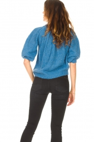 Be Pure |  Alpaca sweater with puff sleeves Lucie | blue  | Picture 6