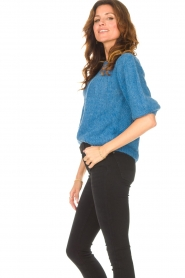 Be Pure |  Alpaca sweater with puff sleeves Lucie | blue  | Picture 5