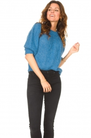 Be Pure |  Alpaca sweater with puff sleeves Lucie | blue  | Picture 4