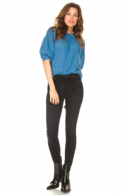 Be Pure |  Alpaca sweater with puff sleeves Lucie | blue  | Picture 3