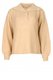 Be Pure |  Knitted sweater with polo collar Lola | camel  | Picture 1