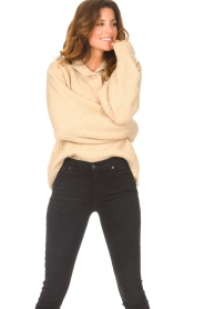 Be Pure |  Knitted sweater with polo collar Lola | camel  | Picture 5