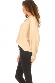 Be Pure |  Knitted sweater with polo collar Lola | camel  | Picture 6